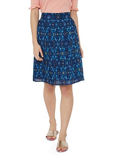 Chumbak Indigo Blossom Blue A-Line Skirt