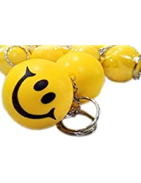 PA Smiley Face Squeeze Ball Key Chain, Kery Ring, Stress Relief Ball, Pack Of 3