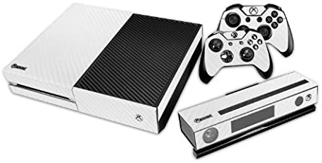 Elton White Carbon Fiber Theme Skin Sticker Cover for Xbox One Console, Kinect & Controllers