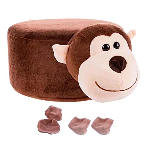 LOVIVER Soft Plüsch Tierform Fußhocker Mit Stuhlbein Socken Für Wohnkultur - AFFE (Socke Machen Affen)