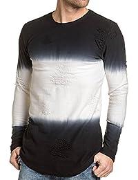 Gov Denim - Pull fin oversize noir et blanc effet déchiré