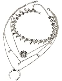 Bishilin collares baratos Flor Hueca Media Luna collar de múltiples capas colgantes kingdom hearts