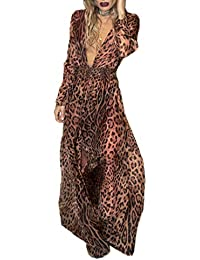 4f67b552deee Simple-Fashion Autunno Primavera Donne Vestito Sexy V Collo Manica Lunga  Vestiti da Cocktail Partito Festa Giovane Moda Leopardato Maxi Abito…