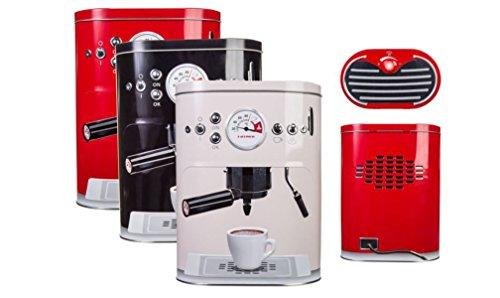 Vorratsdosen Kaffeedose geprägte Blechdose im Espressomaschinen Design 2200 ml , Farbe:Beige