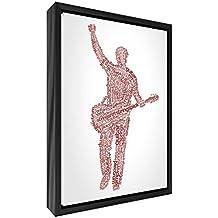 Feel Good Art elegante y moderno, sólido Fronted y multicolor en negro enmarcado pared lienzo en Quirky cuadro macho guitarrista diseño tonos, 44x 34x 3cm (tamaño mediano), madera, rojo, 34x 24x 3cm