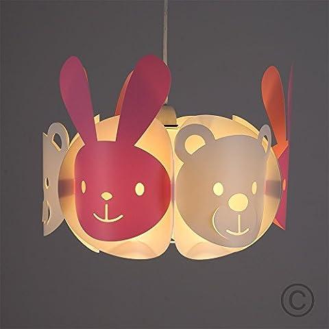 § § tulipa para suspensión 'Conejos & oso' una tambor de decorado con de las caras de oso y las caras de conejo, en rosa/fucsia & opaco. Diseño contemporáneo y Fun.. Cordón eléctrico non-fourni