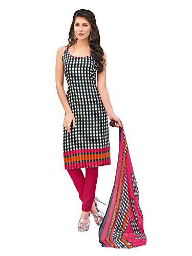 Applecreation Women'S Crepe Dress Materials ( Black_35Swtk1392_Unstiched Salwar Suit )