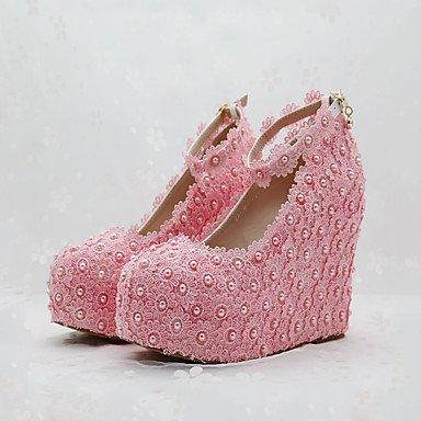 Wuyulunbi@ Scarpe donna vera stagione tutti i comfort scarpe matrimonio punta tonda per la festa di nozze & sera Rosa Bianco US5 / EU35 / UK3 / CN34