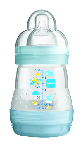 Mam Anti-Colic Baby Bottle 160ml 0-6 Months Flow 1 - Colour : Transparent blue
