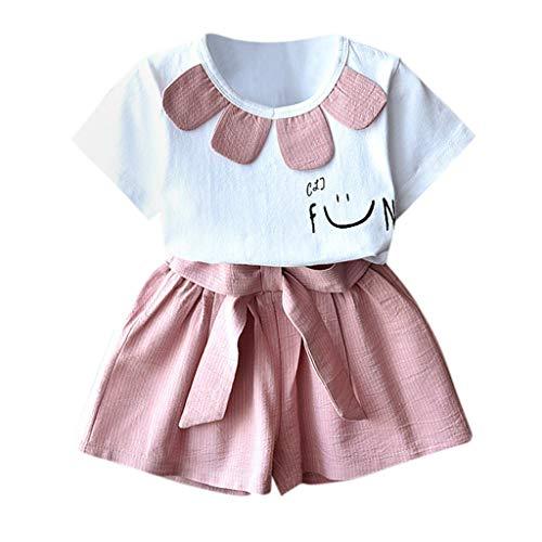 Bazhahei completi bambina estate,infantile bambino ragazza casuale tuta manica corta stampa t-shirt + pantaloncini 2pcs set per festa club ballo scuola (2anni-7anni)