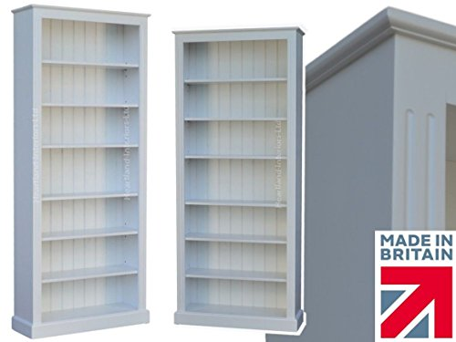 white-painted-bookcase-7ft-x-3ft-solid-wood-adjustable-display-storage-shelving-unit-no-mdf-no-flat-