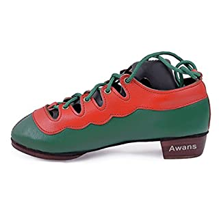 Awans Highland Jig Shoes, Heels Fitted with Traditional Cast Jingle Plates for Clearer Sound (13 UK Child) Red-Green
