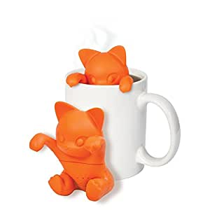 Küche Silikon Tee-Ei, zonyanl Loose Leaf Herbal Teesieb Filter Diffusor für große Cup Cute Cat Orange