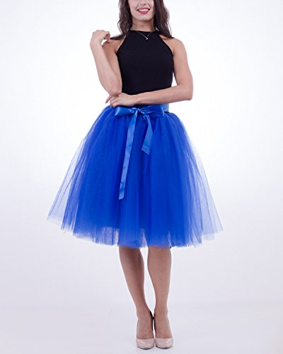 Comall Donna Balletti Danza Tutu Gonna Sottogonna in 7 Strati Tulle Principessa gonna di Petticoat 65cm Marrone