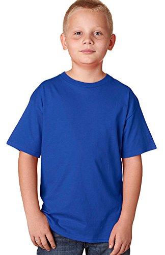 Hanes Youth Nano narrower Ribbed Collar T-Shirt Deep Royal