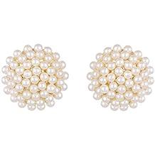 Zeneme Pearl Engraved Office Push Back Stud Earrings Jewellery For Women/Girls