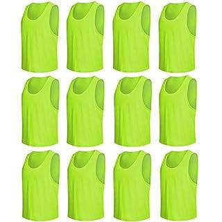 Senston Soccer Bibs Jersey Nylon Mesh Sports Pinnies Équipe Scrimmage Training Gilets - Football/Volleyball/Basketball Bibs (12-Pack)