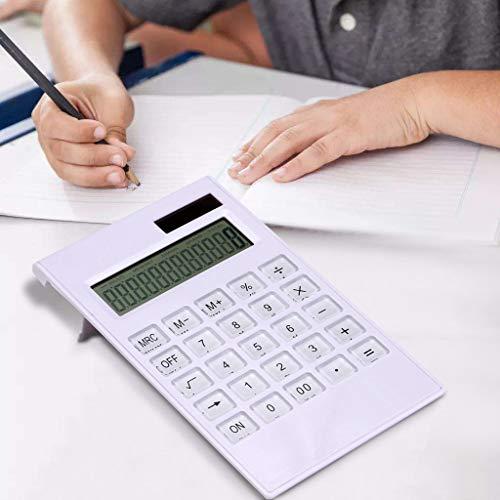 Hahuha Ultradünner Rechner, Tragbare dünne AAA-Batterie Weißer solarbetriebener Taschenrechner Bildschirm 12 Ziff, Büromaterial