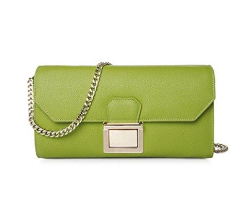 Frauen-echtes Leder-Beutel Kleine / Mikro-Kreuz-Körper-Schulter-Beutel-Handtaschen-Kupplungskette (7 Farben) Green