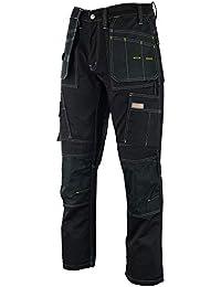 d0306ed7e73a Wright Wears Men Work Cargo Trouser Black Heavy Duty Multi Pockets   Knee  Pad Pockets