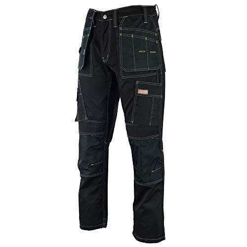 Men travail Cargo pantalon noir Heavy Duty Multi-Poches et poches Knee Pad, comme Dewalt, Noir, 30 W/33 L
