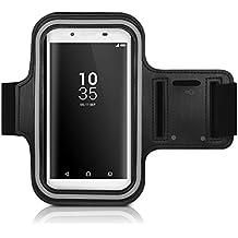 kwmobile Brazalete deportivo para Sony Xperia Z5 - Bolsito deportivo para footing, pasear, cinta para correr con bolsillo para llaves en brazalete deportivo en negro