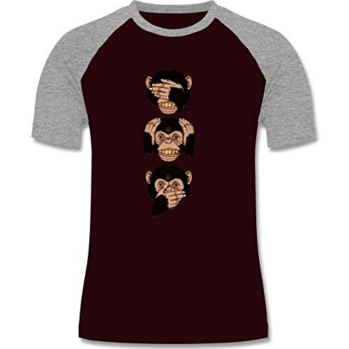 Statement Shirts - Drei Affen - Sanzaru - zweifarbiges Baseballshirt für Männer Burgundrot/Grau meliert
