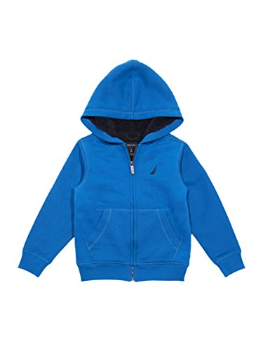Nautica Little Boys' Expedition Sherpa Fleece Full Zip Hoodie, Dark Turquoise, 4 (Sherpa Hoodie Full Zip)