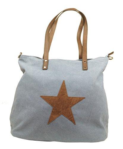 KENDT Design - Canvas Stern Tasche Damen, Stofftasche mit Leder Stern, Schultertasche Henkeltasche verschiedene Farben (F3150) (Navy-dunkelblau) Hell-Blau