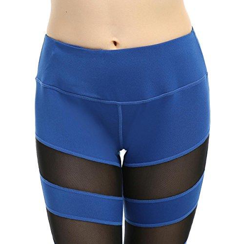 Leggings Yoga Netto Filati Patchwork Fitness Abbigliamento Skinny Per Le Donne Blue