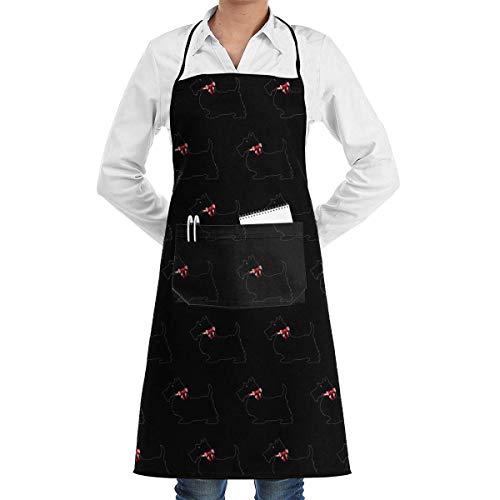 Apron ki Kochschürze mit Zwei Taschen, für Männer und Frauen, Küchenschürze zum Kochen, Backen, Basteln, Gartenarbeit und Grillen - Scottie Dog Lustiges Muster -