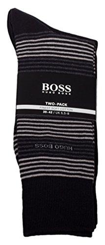 """Preisvergleich Produktbild Hugo Boss Socken Twopack,  2er Pack,  Doppelpack """"Finest soft Cotton"""" Colour Edition (39-42,  Schwarz (Streifen))"""