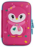 Ofsign Multipurpose Cute Owl Art Pink Pencil Pouch