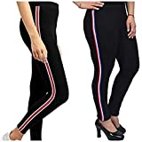 Fitg18 Gym wear Leggings Ankle Length Free Size Combo Workout Trousers   Stretchable Striped Jeggings   Yoga Track Pants for Girls & Women (Black)(Pack of 2)