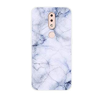 Aksuo for Nokia 4.2 Case,Women Girls boy Men Printed Transparent Clear Design Plastic Case with TPU Bumper Protective Cover,White Marble