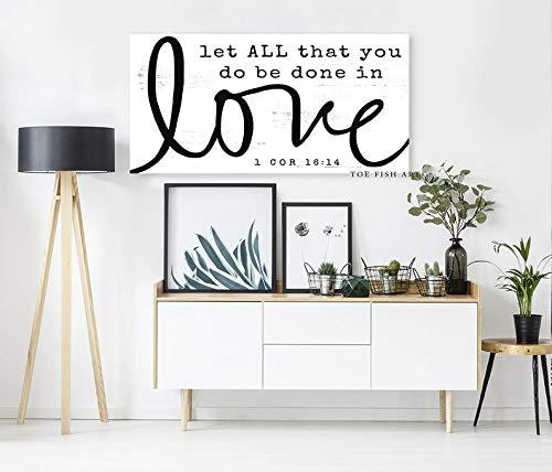 Derles Wood Let All That You Do Be Done In Love, Kunstdruck auf Leinwand, modernes Hochzeitsgeschenk