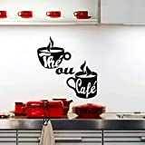 Lorsoul Kaffeetasse-Wand-Aufkleber Poster Paster Abziehbilder Produkte Home Drawing Room Dekoration Küchen-Fliese