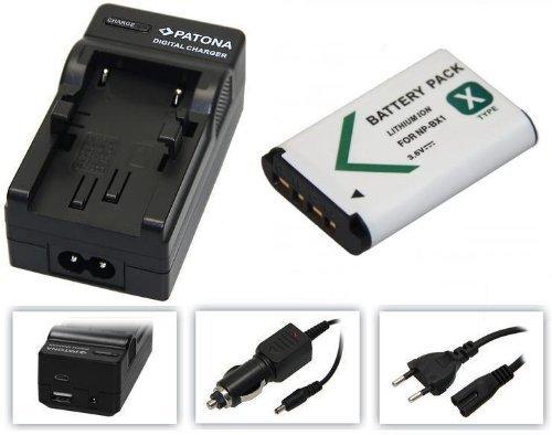 2in1-SET für die Sony Action-Cam HDR AS100 / AS100V / AS100VR / AS100VB und AS100VW --- Akku (1000mAh) + 4in1 Ladegerät (u.a. mit USB / micro-USB und Kfz/Auto) (Sony Action Cam Akku)