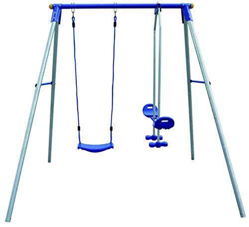 Izzy Schaukelgestell Metall mit Brettschaukel und Tellerwippe Bodenanker 200x190 cm - Einzelschaukel Kinder