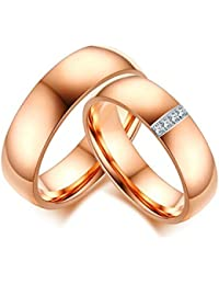 KNSAM - Anillo de pareja para hombre y mujer, anillos de bodas de oro rosa