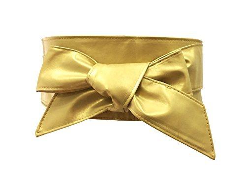 farben bei obi TY belt Frauen Damen Obi Gürtel mode einfarbig PU Leder 6cm Bereit Gürtel Tailleband (Gold)