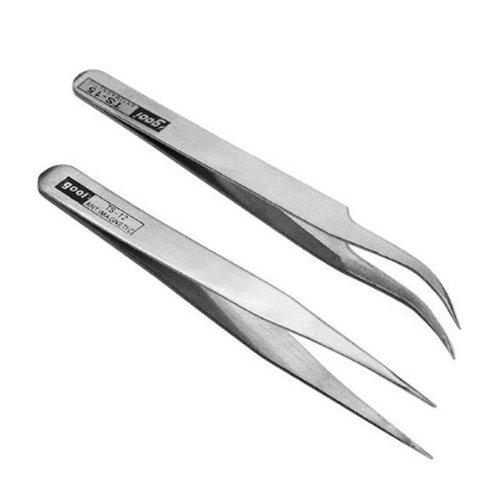 TinkSky 2pcs inox strass cils Nail Art Straight incurvé pinces brucelles cueillette outils de précision