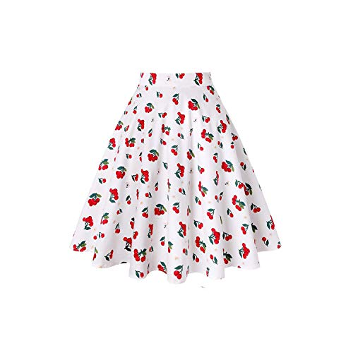 Floral Skirt Cotton Black Skirt Womens Sexy Midi Summer Skirt Floral Polka Dots Black Red Blue Plus Size,Beige Cherry Flower,S -