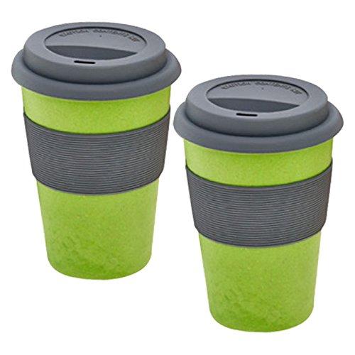 2er Set Magu Kaffeebecher für unterwegs 'Coffee to Go' grün Bambus Natur-Design, Trinkbecher mit...