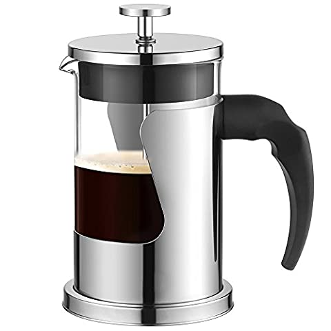 TDH Coffee Maker, Stainless Steel Cafetiere Glass French Press Coffee Pot with Filters (600ml)
