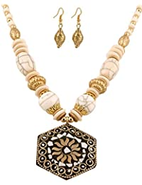 AELO - Designer Big Bead Handmade Large White Beads Fashion Pendant Necklace Jewelry For Women/Girls(Fashion Necklace...