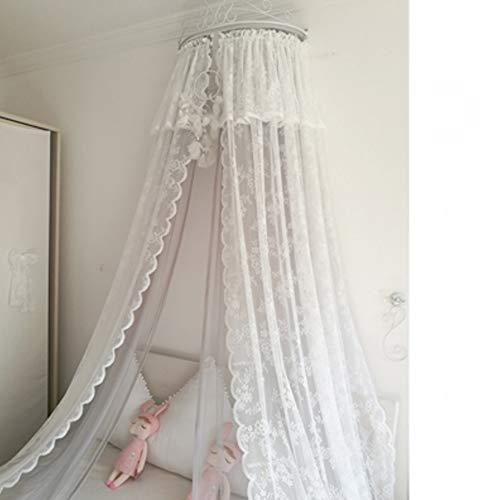 GE&YOBBY Spitze Bett Baldachin,Prinzessin Doppel-mesh-Bett-Vorhang Mit Weißen Metall Krone Für Bettwäsche Dekoration-d 2.0m - Prinzessin Weiß Metall Baldachin
