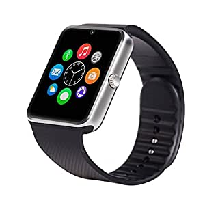 MIRZA GT08 Bluetooth Smart Wrist Watch for VIVO x6s (Bluetooth GT08 Smart Watch Wrist Watch Phone with Camera & SIM Card Support Hot Fashion New Arrival Best Selling Premium Quality Lowest Price with Apps like Facebook, Whatsapp, Twitter, Sports, Health, Pedometer, Sedentary Remind & Sleep Monitoring, Better Display, Loud Speaker, Microphone, Touch Screen, Multi-Language, Compatible with Android iOS Mobile Tablet-Silver Color)