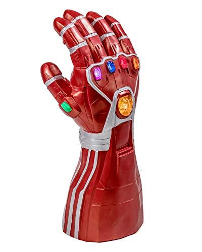 Gauntlet Kostüm Handschuh - Iron Man Handschuhe Gauntlet Endgame Cosplay Kostüm Thanos Infinity Rot Hand Handschuh mit LED Energy Stones Replik Erwachsene Herren Film Merchandise Zubehör