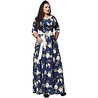 HUAN Vestido de Estampado de Mujer, Vestido de Fiesta con Cinturón de Mujer, Faldas de Primavera (Color : Azul Oscuro, Tamaño : SG)